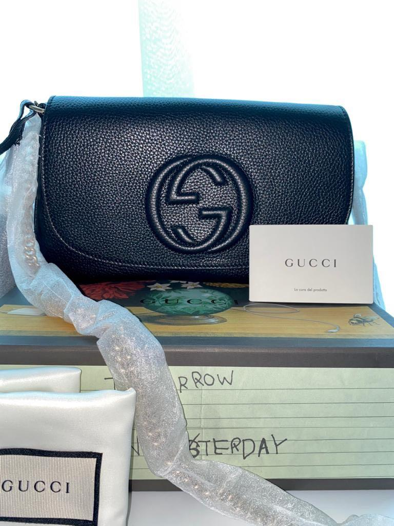 Gucci - Borsa Soho Medium Flap Chain Leather Black Cross Body / Handbag - Authentic & Brand New