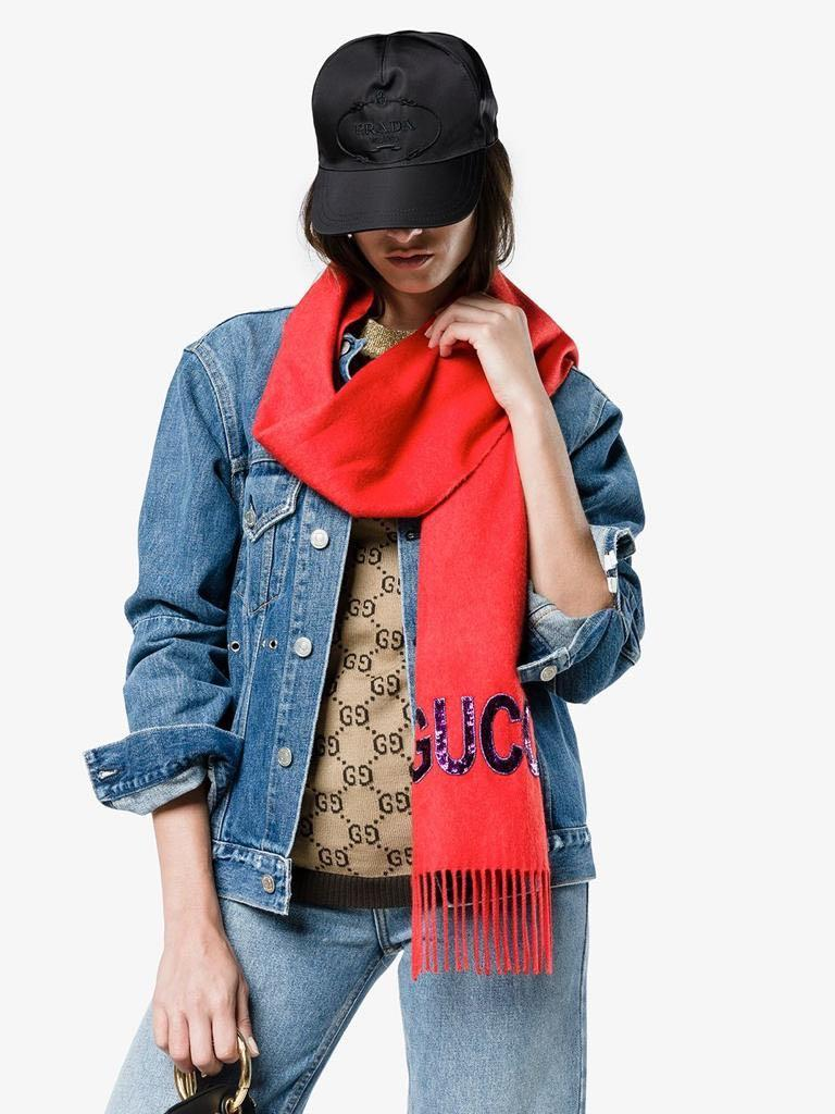 """Gucci - """"REDUCED PRICE"""" - Red Sequin 'GUCCY' Cashmere Silk-Blend Scarf"""