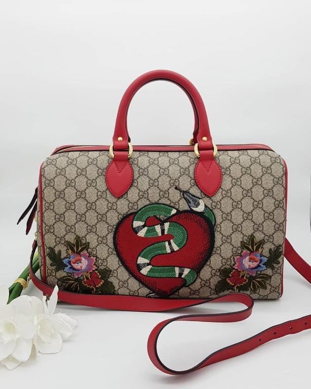 Gucci Embroidered GG Supreme Boston Bag
