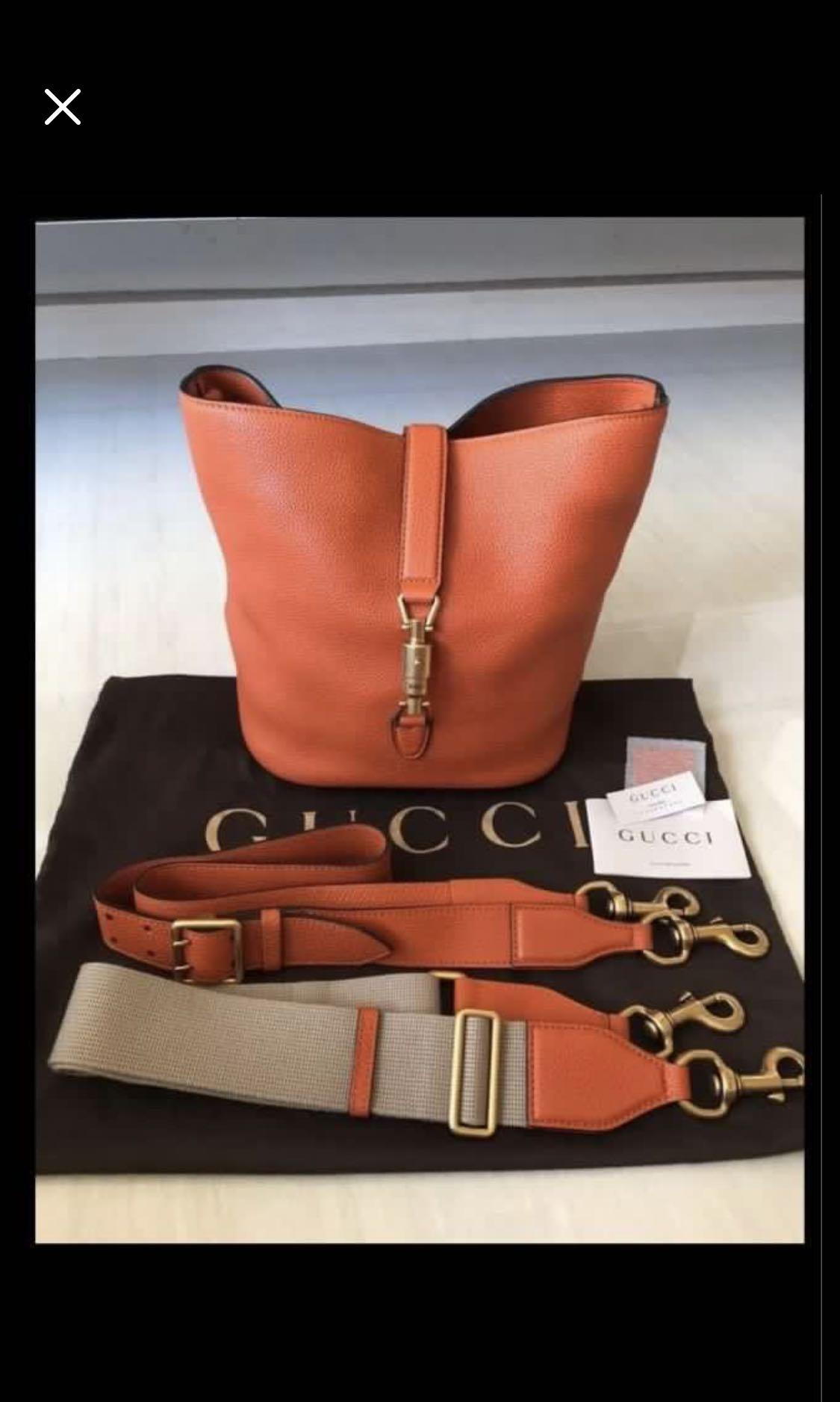 Gucci full leather bucket sling