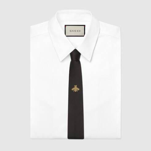 Gucci Kids - Exclusive - Gold Bee Embroidered Silk Tie For Kids - 120 CM