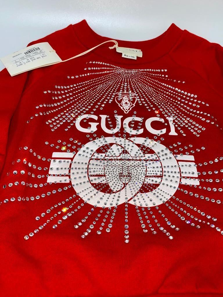Gucci Kids - RARE & EXCLUSIVE - Gucci Print Sweatshirt/Sweater With Crystals - Size 6 (5-7 Years)