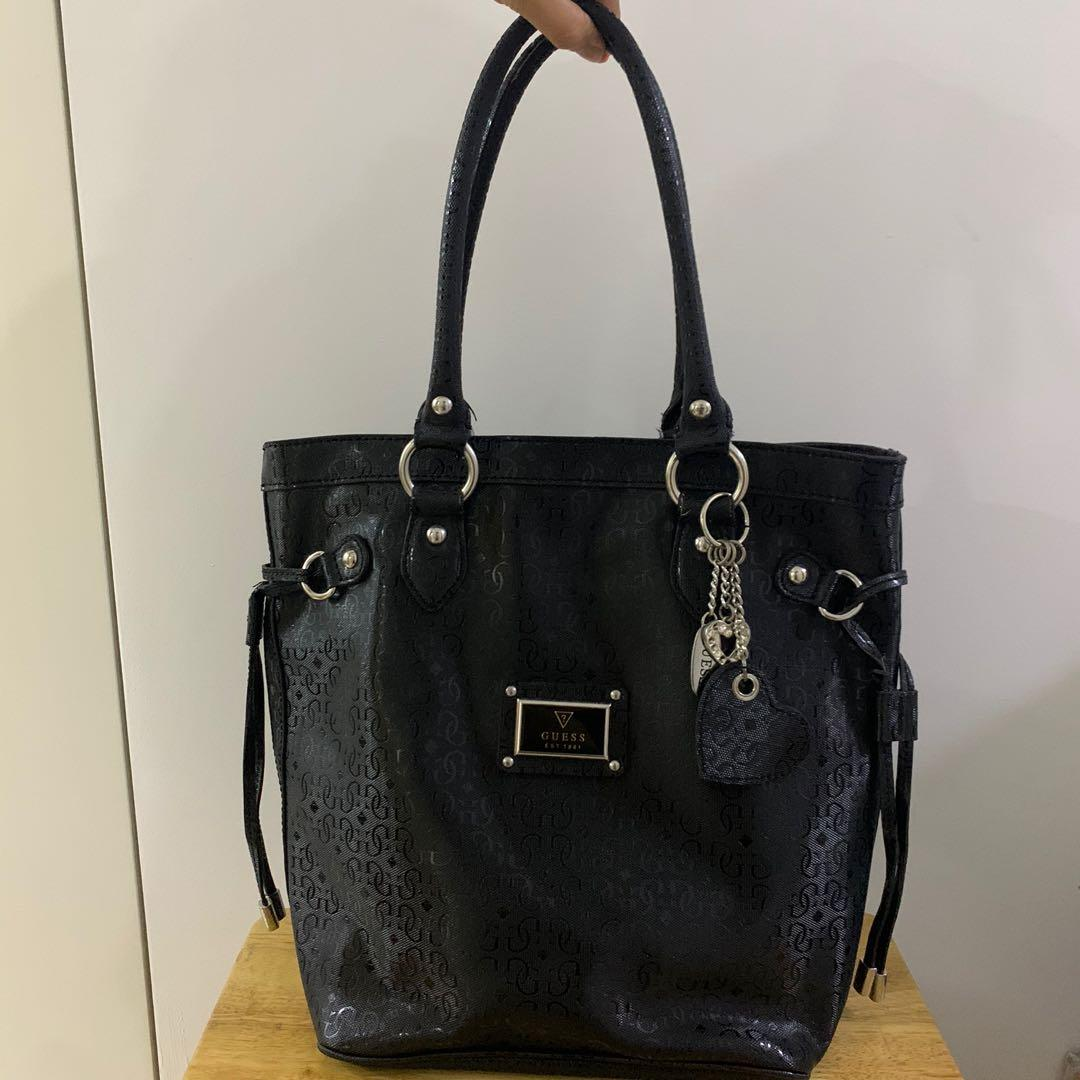 Guess Large Black Leather Tote Bag