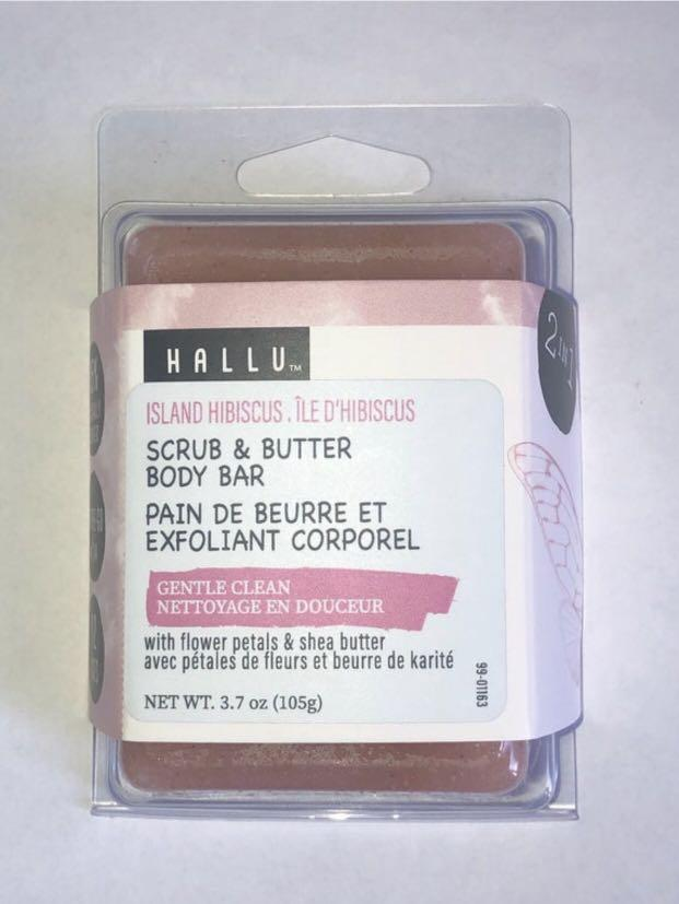 Hallu Scrub and Butter Body Bar with Flower Petals and Shea-Butter-3.70z