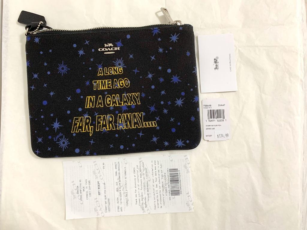 In stock: BN 100% original: stock clearance Coach Star Wars X Gallery Pouch A Long Time Ago In A Galaxy Far Far Away limited edition