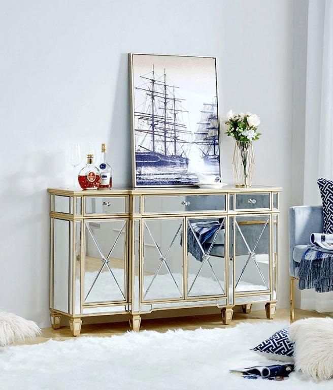 Lopez Mirrored Sideboard Buffet Cabinet, Sideboard Buffet Furniture