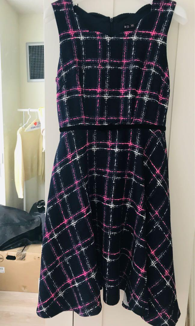Navy checkered dress size XS