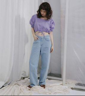 Pimgo - 隨性腰可調寬管直筒牛仔褲(S號 淺藍)