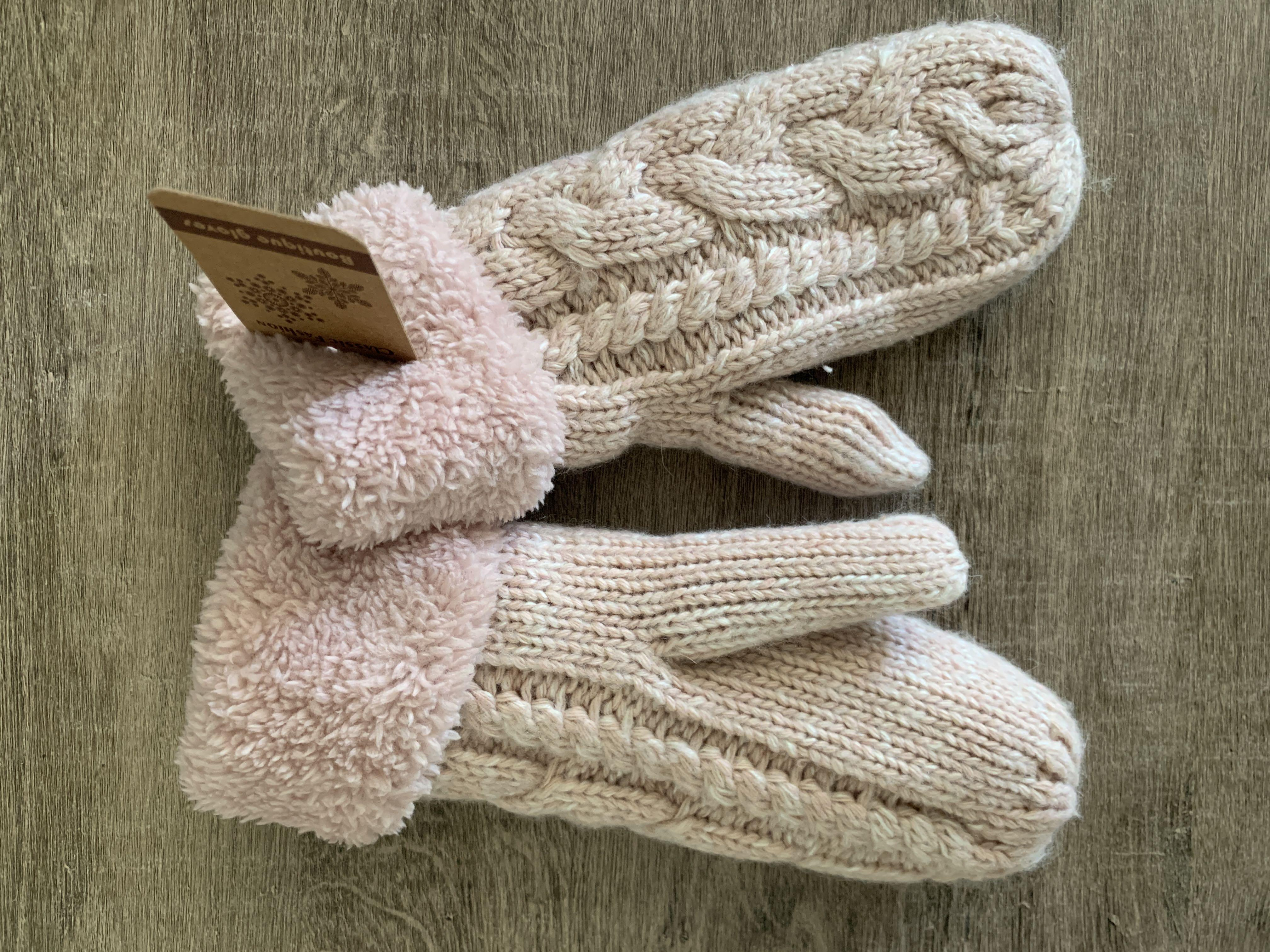 Pink Knitted Gloves