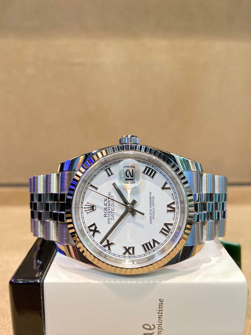 Pre Owned Rolex Oyster Datejust 116234 White Dial Automatic Steel Casing Bracelet