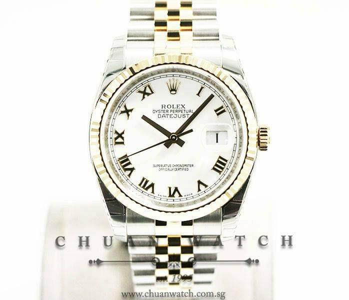 Pre-Owned Rolex Gents' DateJust Two-Tone 36mm 116233 White Roman - Discontinued