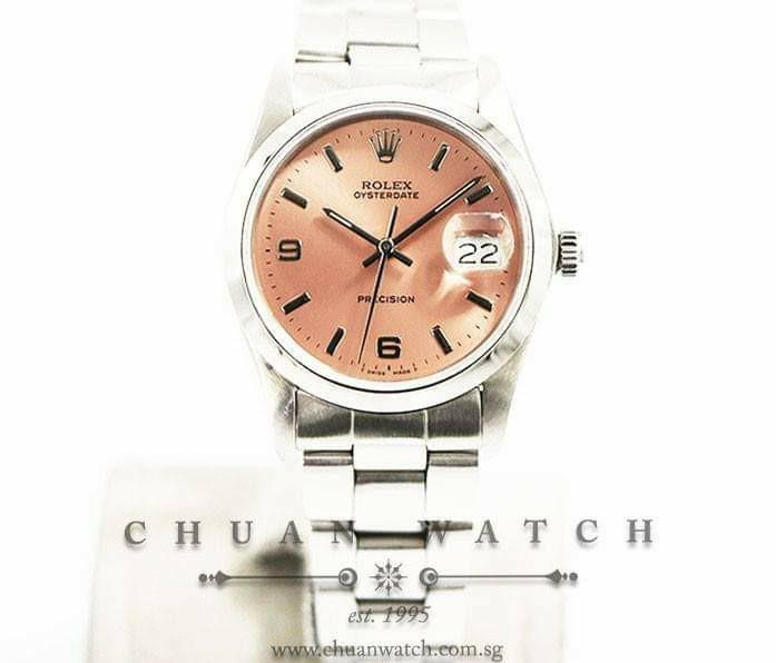 Pre-Owned Rolex Vintage Oysterdate Precision 34mm 6694 Custom Salmon Index (Reconditioned) - Discontinued