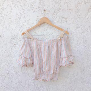 Retro Color Off Shoulder Top w/ Beige Crochet Straps