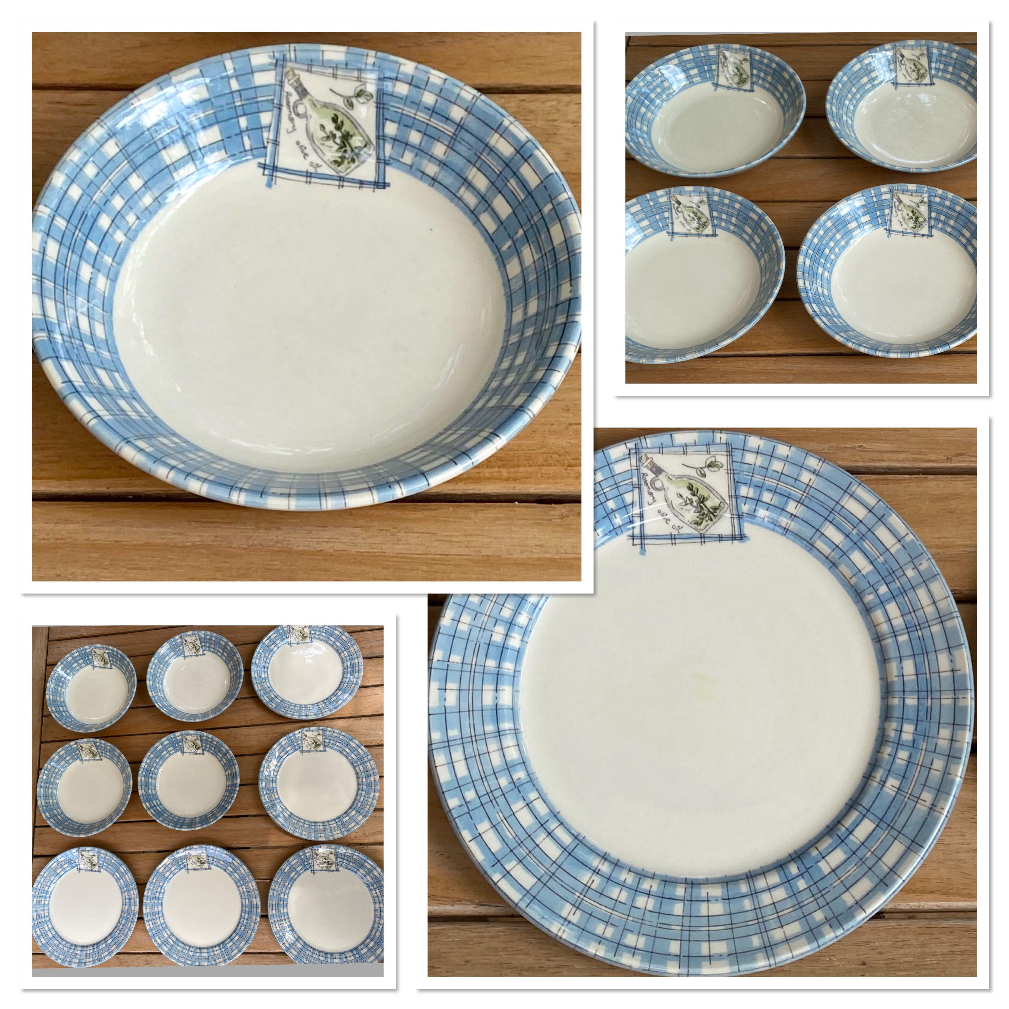 SUPER CUTE Salad plates(5)and bowls(4) made in Malaysia