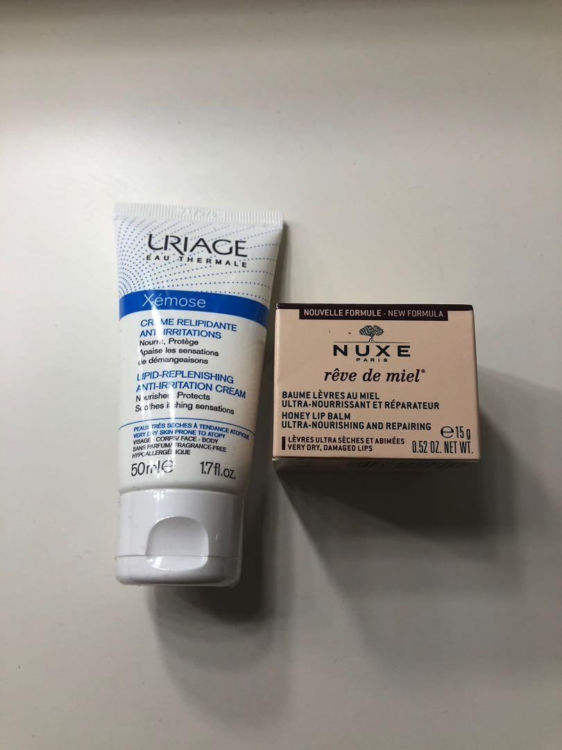 Uriage cream and Nuxe lip balm