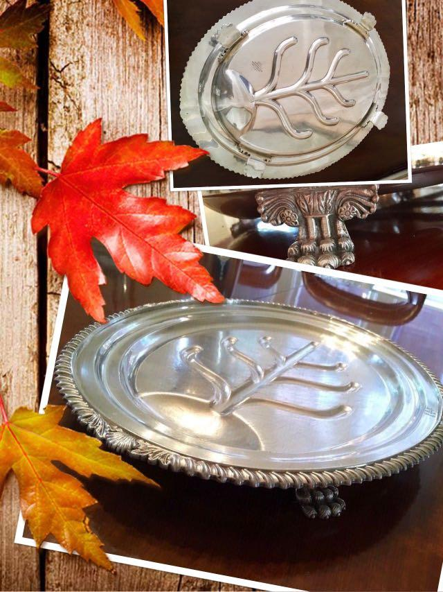 ⭐️VINTAGE (1950)Gnun,silver plate,Sheffield,England 18.5 inches x 15 inches platter⭐️