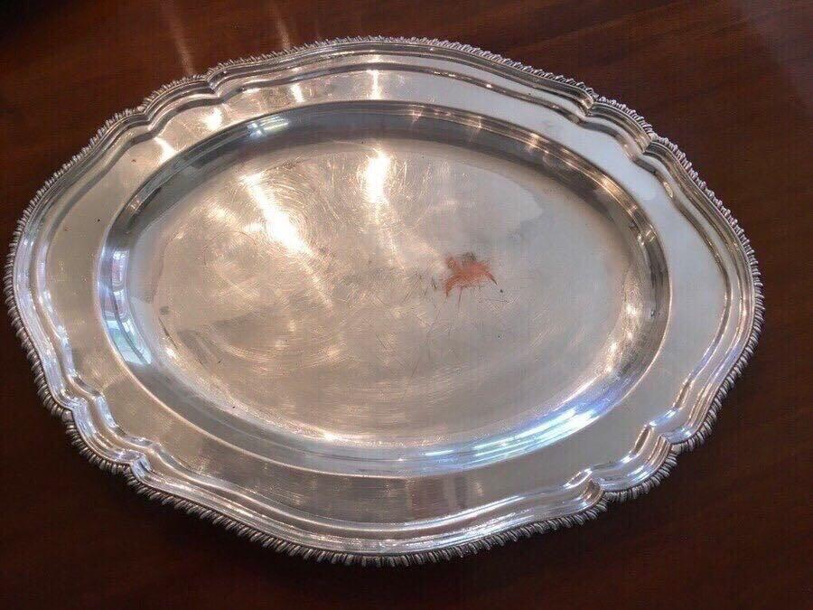 "VINTAGE Marlboro,silver plate,Old English reproduction,England  (18"" x 13"")platter"