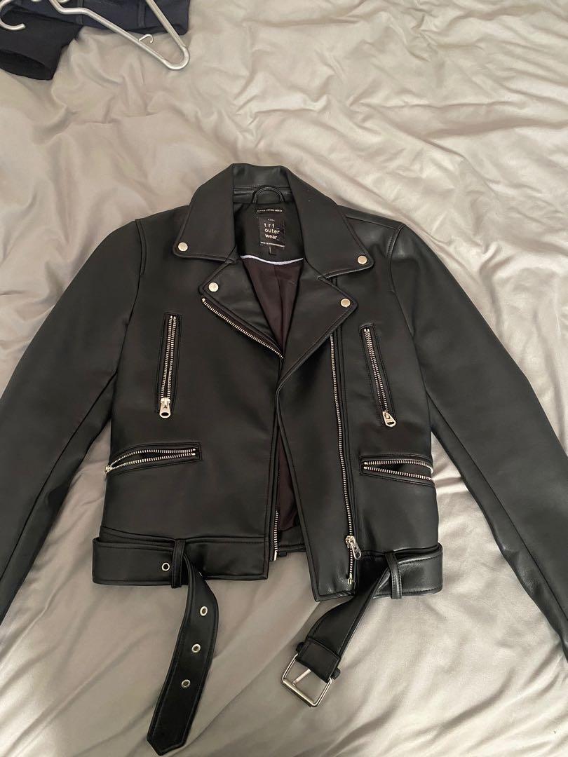 Zara Leather Jacket TRF
