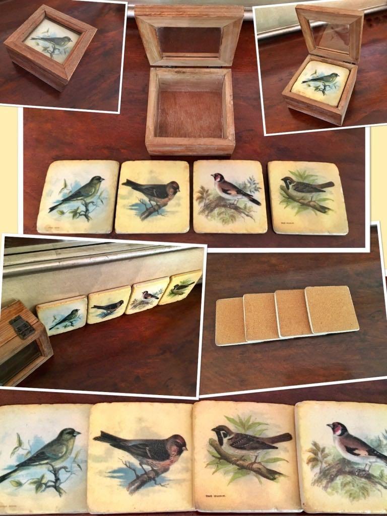 ⭐️4 Gorgeous rustic bird ceramic 3.75 inch square coasters in a wooden storage box.⭐️