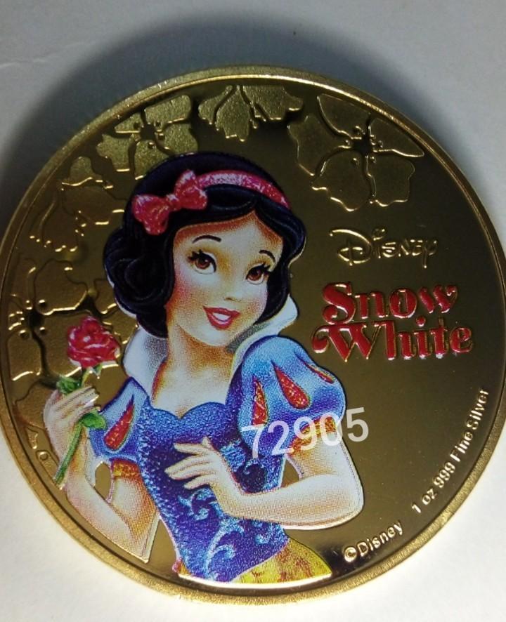 迪士尼公主彩色鍍金幣,金幣,錢幣,收藏錢幣,紀念幣,收藏,幣~迪士尼白雪公主彩色鍍金幣(鍍金非純金)