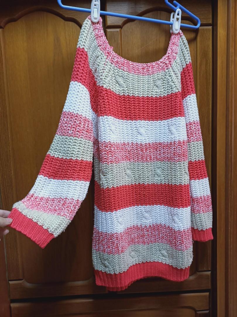 長版毛衣 經典橫條紋 紅色系
