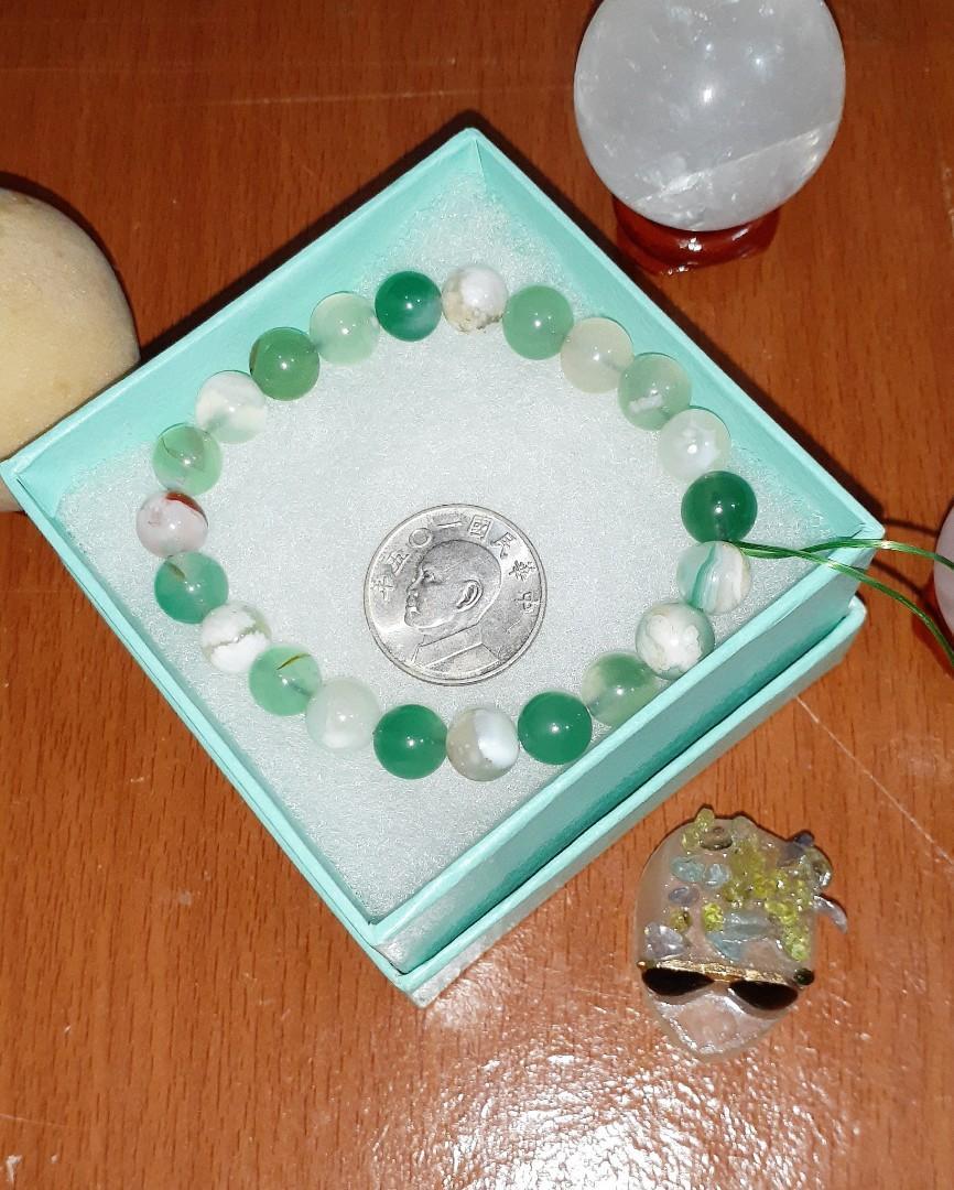 純天然 綠櫻花瑪瑙 單圈 圓珠 手鏈