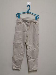 牛仔直筒褲 米色 尺寸M