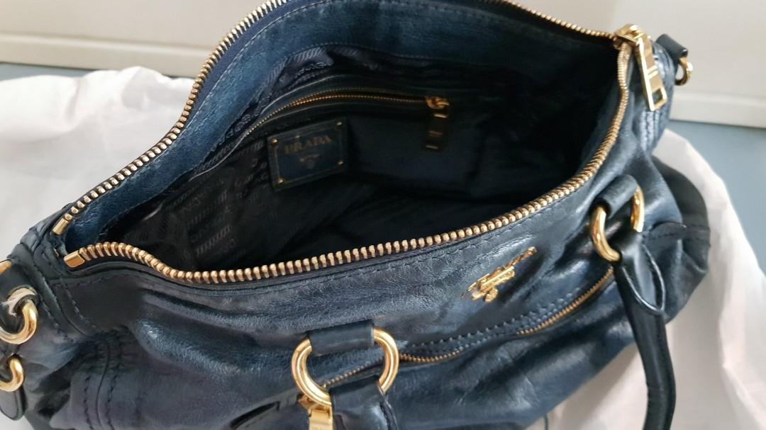 Auth PRADA Blue Leather Bag