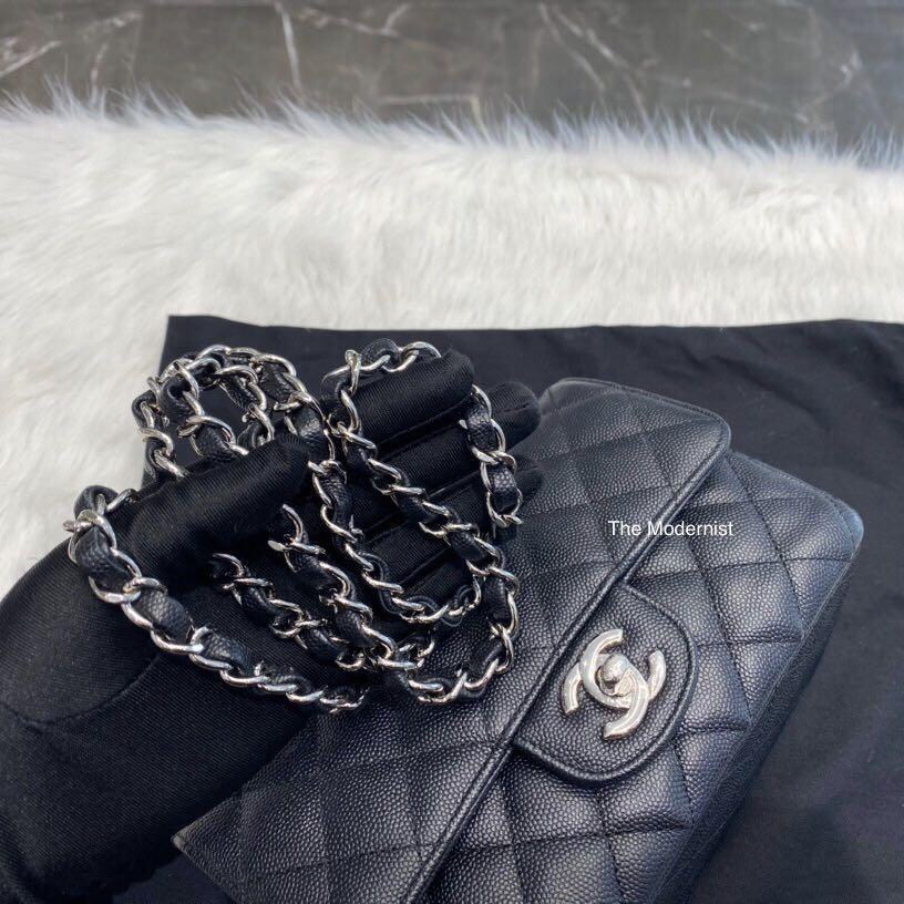 Authentic Chanel Mini Rectangular Black Caviar Silver Hardware