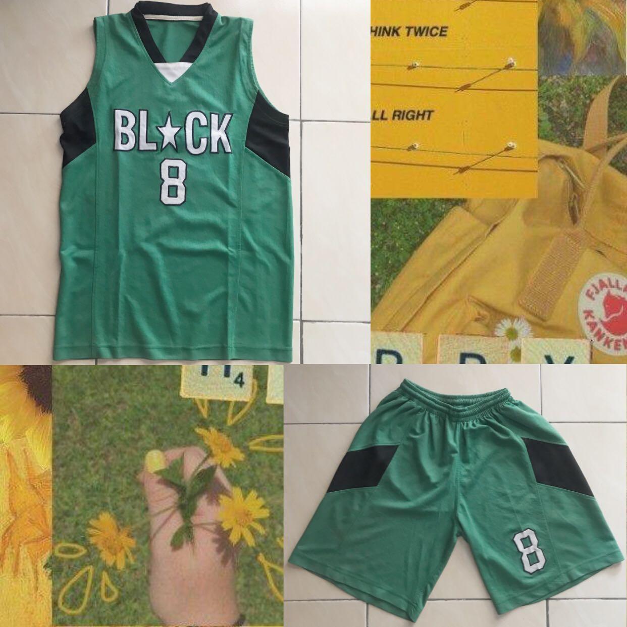 Baju basket hijau tua black nomer 8 preloved