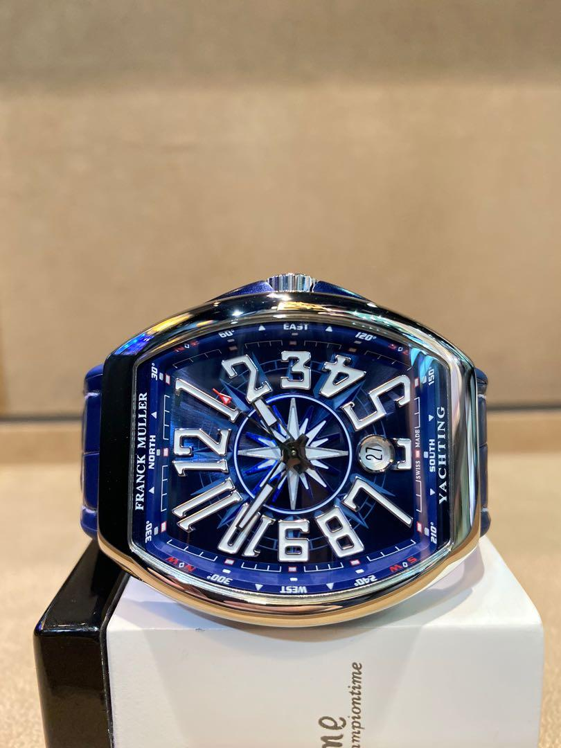 Brand New Franck Muller Vanguard Yatching V41 SC DT Blue Dial Automatic Steel Casing Leather