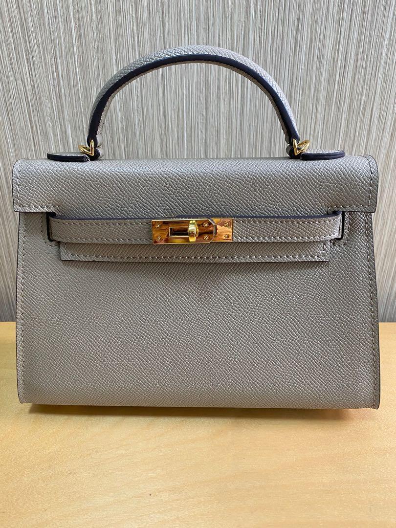 No Brand Calf leather bag grey colour, GHW