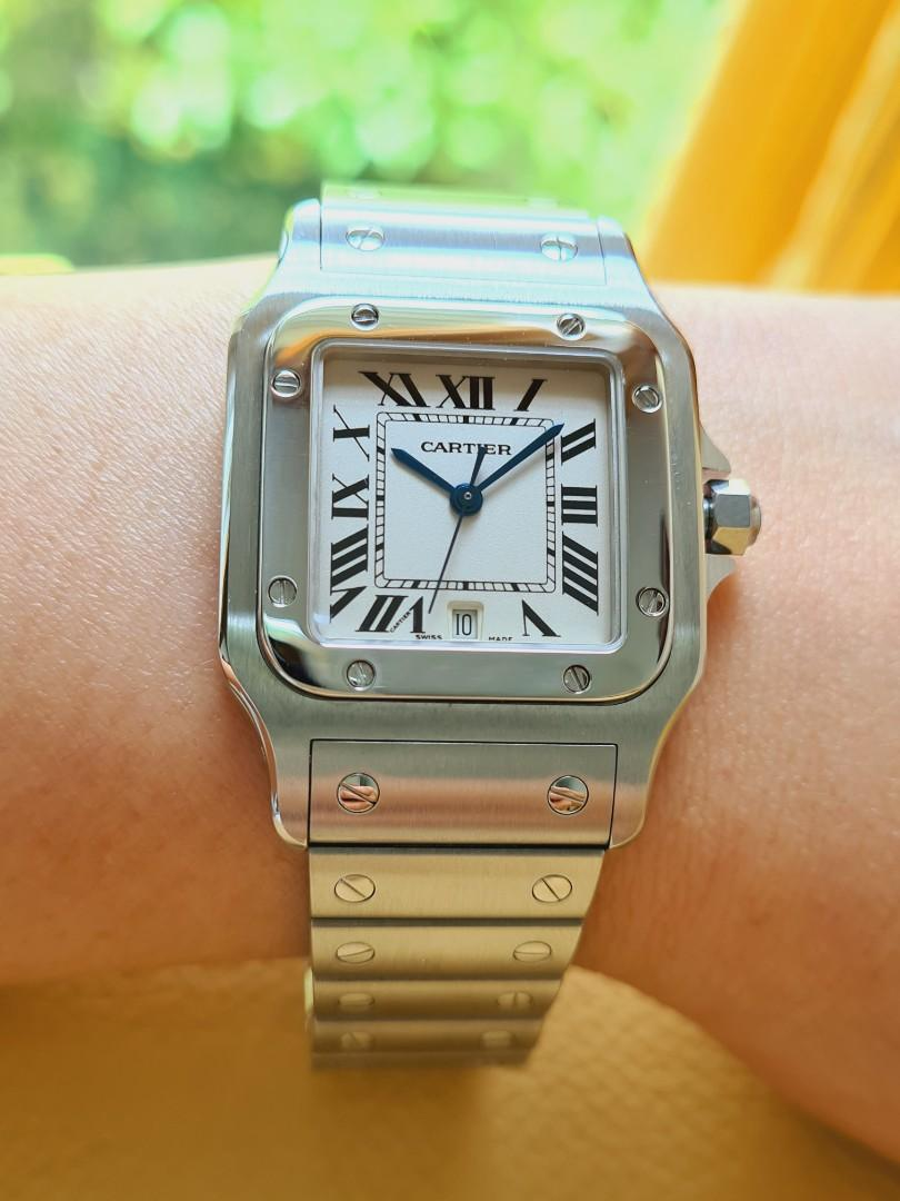 Cartier Santos White Dial Date Stainless Steel Midsize Quartz