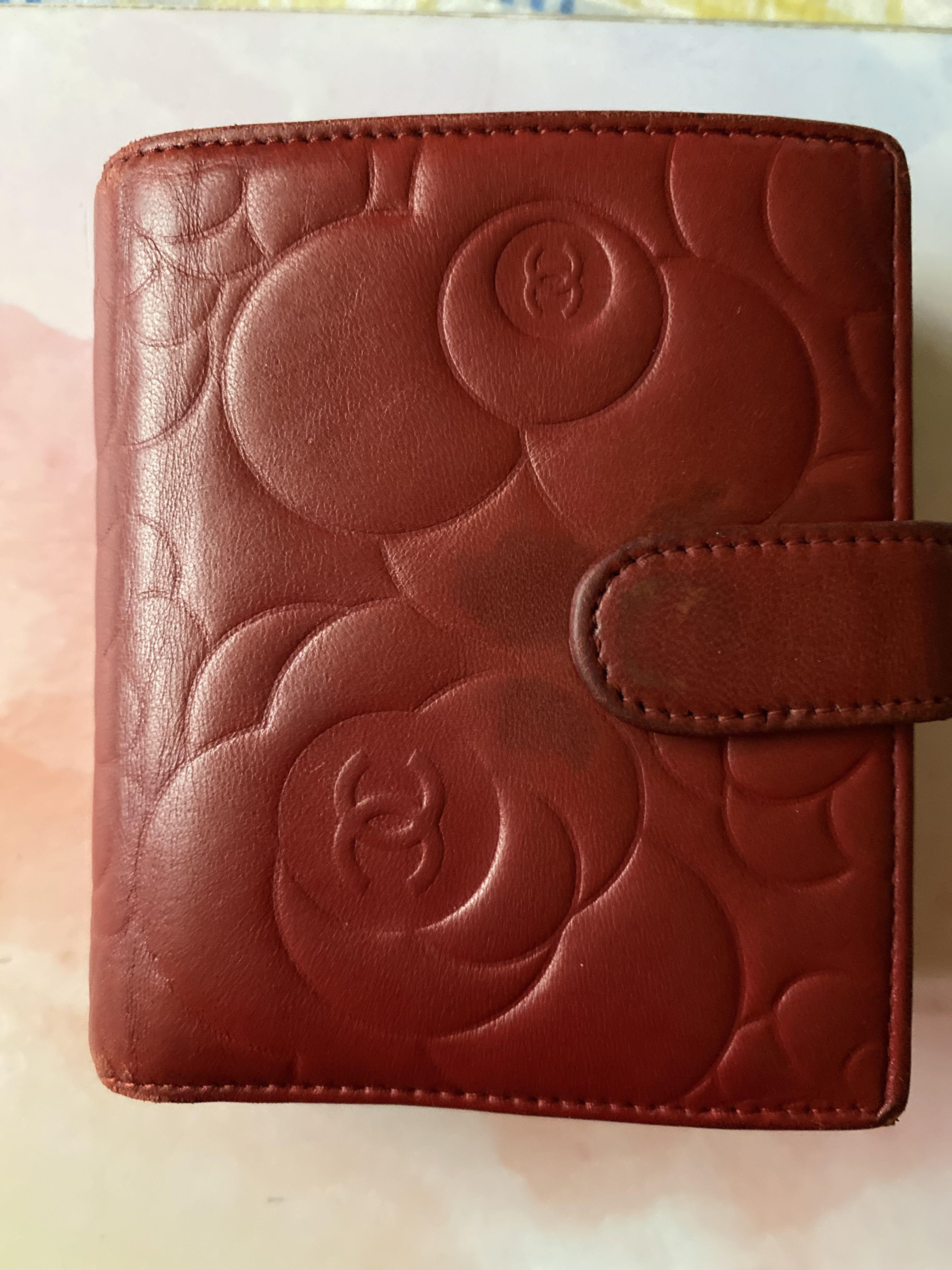 CHANEL RED EMBOSSED LEATHER WALLET