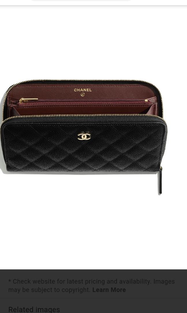 Chanel zip wallet calf leather