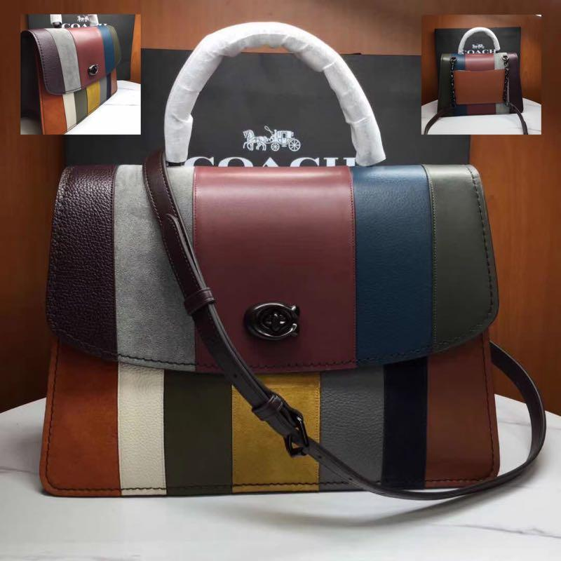 COACH Parker Top Handle 32 With Patchwork Stripes F73823 Oxblood Multi Pewter Bag