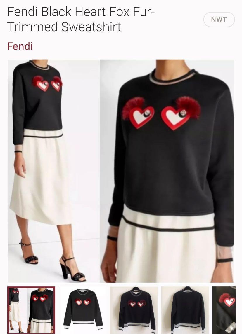 Fendi Original Black Heart Fox Fur Silver Liner Sweatshirt