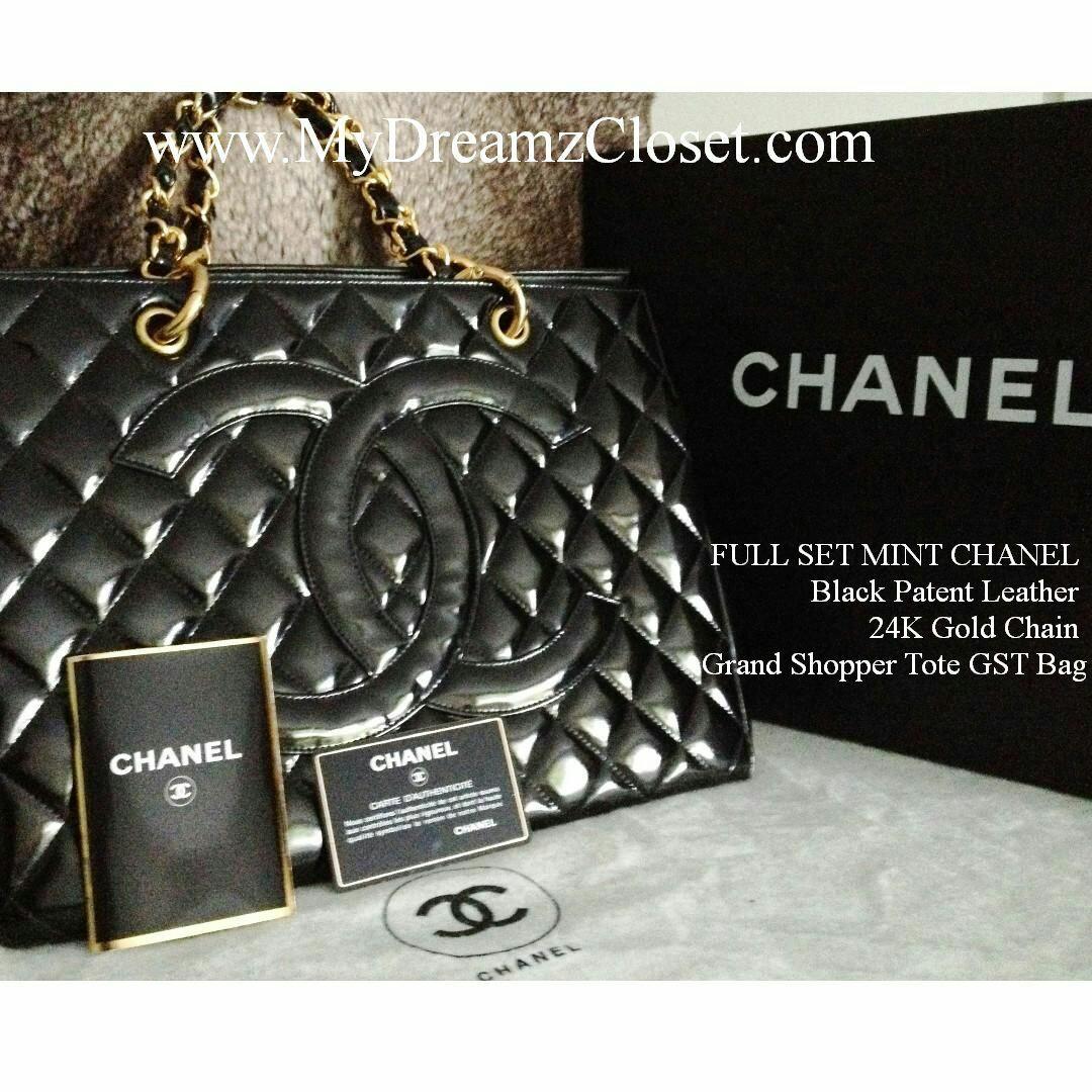 FULL SET MINT CHANEL Black Patent Leather 24K Gold Chain Grand Shopper Tote GST Bag