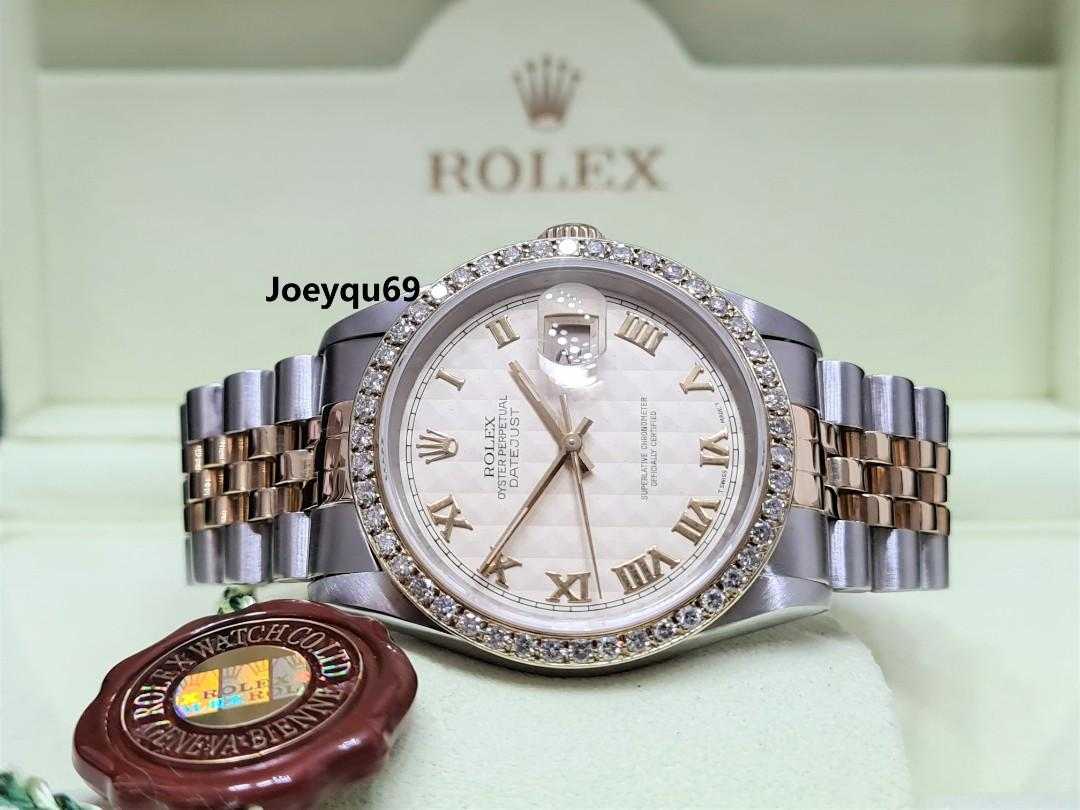 Fully Serviced! Rare Pyramid dial ROLEX DATEJUST Diamond bezel 16233 Men No pinhole!