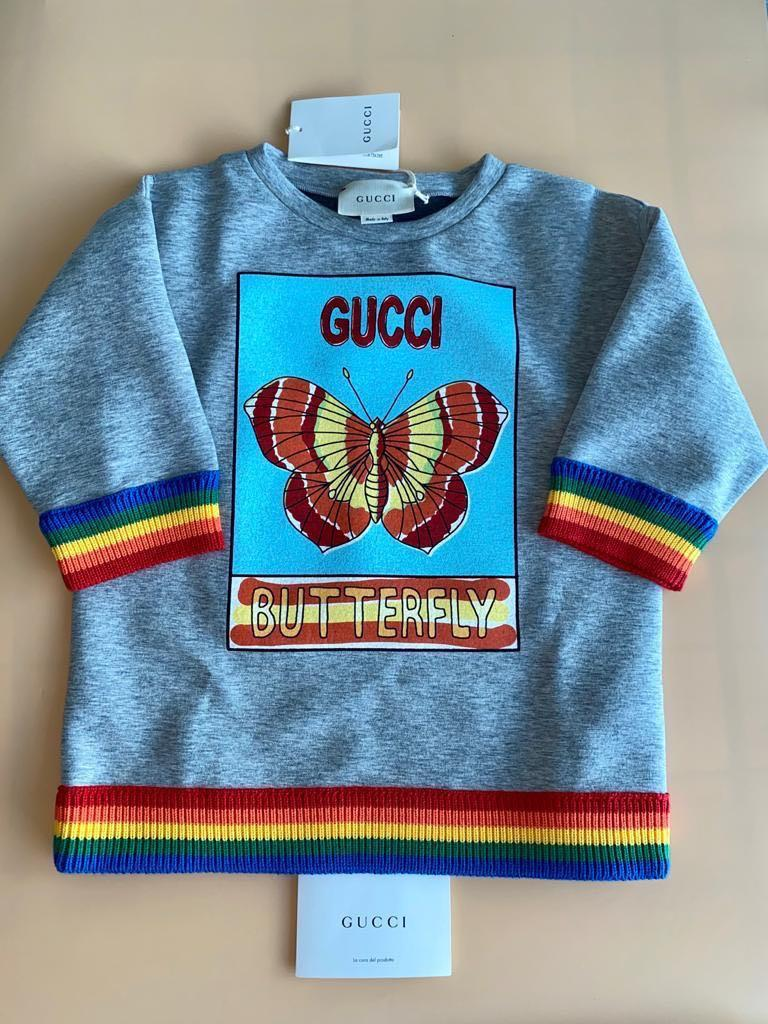 """Gucci Kids - Exclusive Unisex Top, Sweatshirt, Jumper, Sweater With """"GUCCI BUTTERFLY"""" Print - Size: 8 Years"""