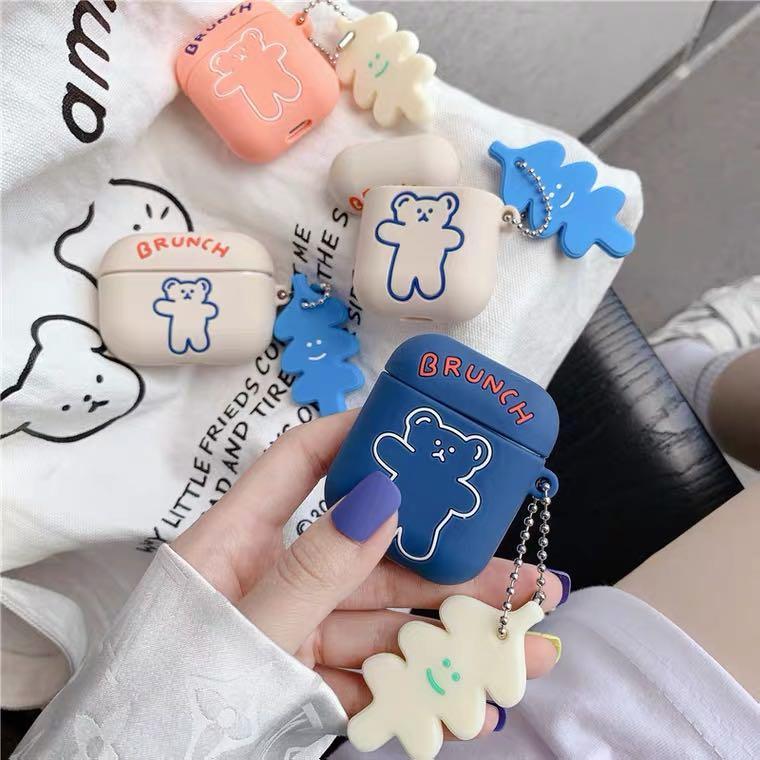 韓國ins可愛卡通呼拉圈小熊適用airpods保護套