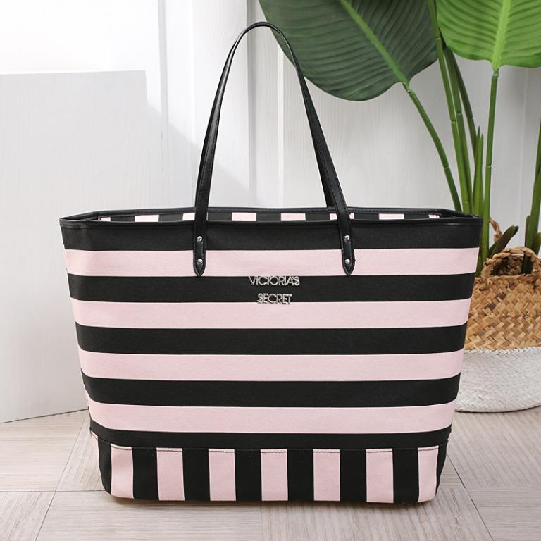 Instock VS Victoria's Secret Pink Black Stripe Canvas Tote Bag ASC3320