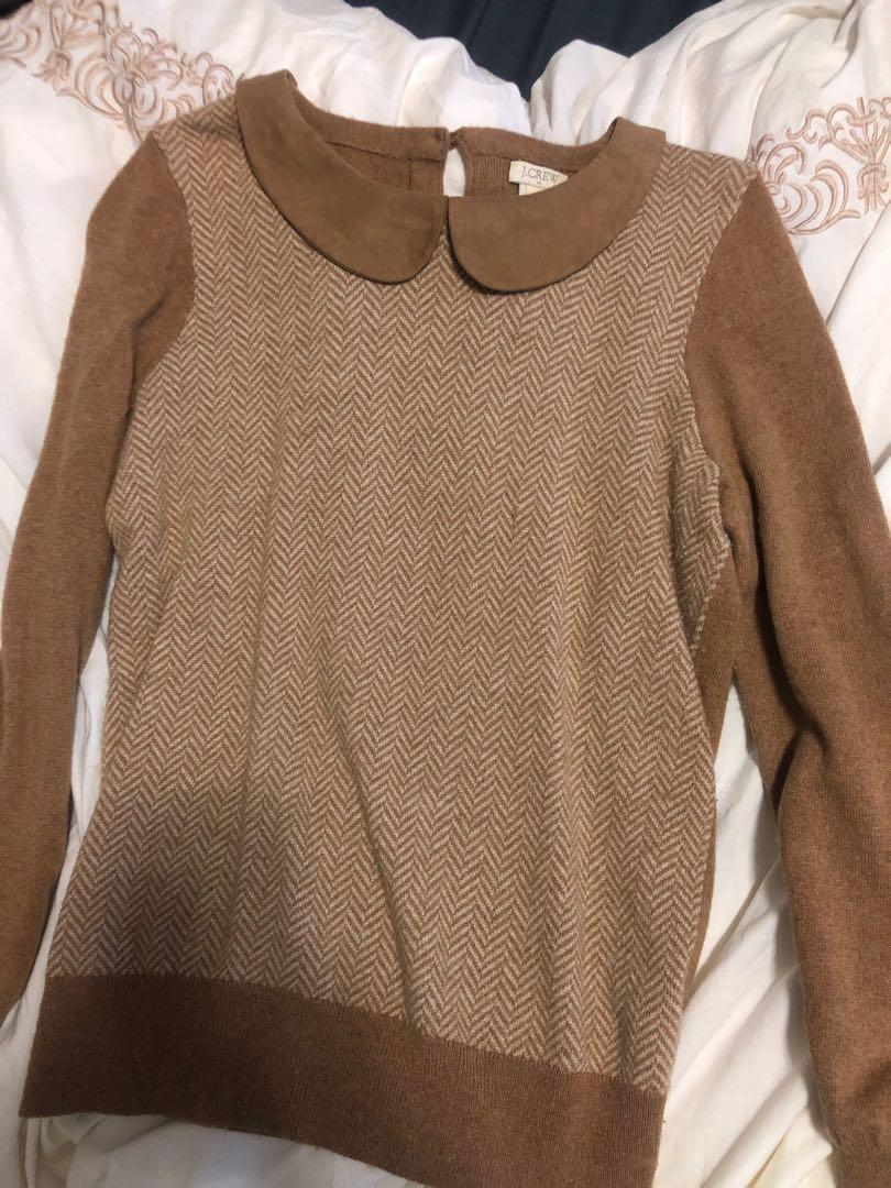 Jcrew herringbone peter pan collar sweater