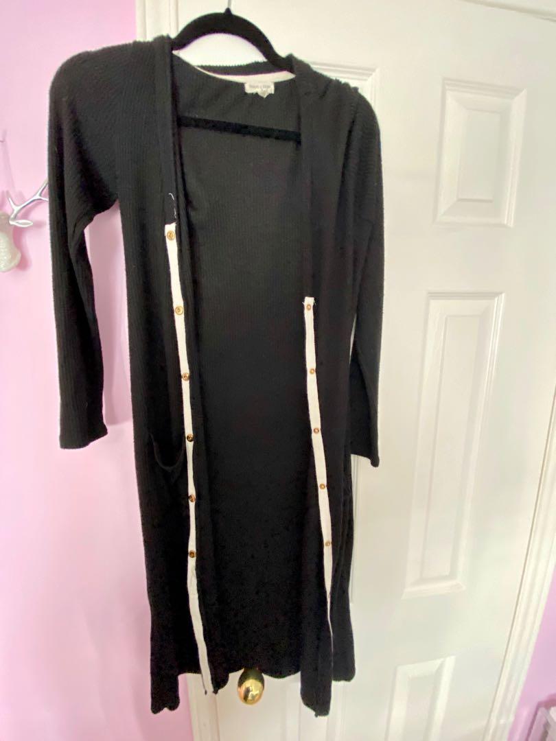Long black button down dress