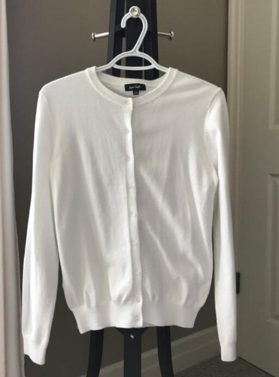 Lord & Taylor White Long-Sleeved Cardigan | Size S