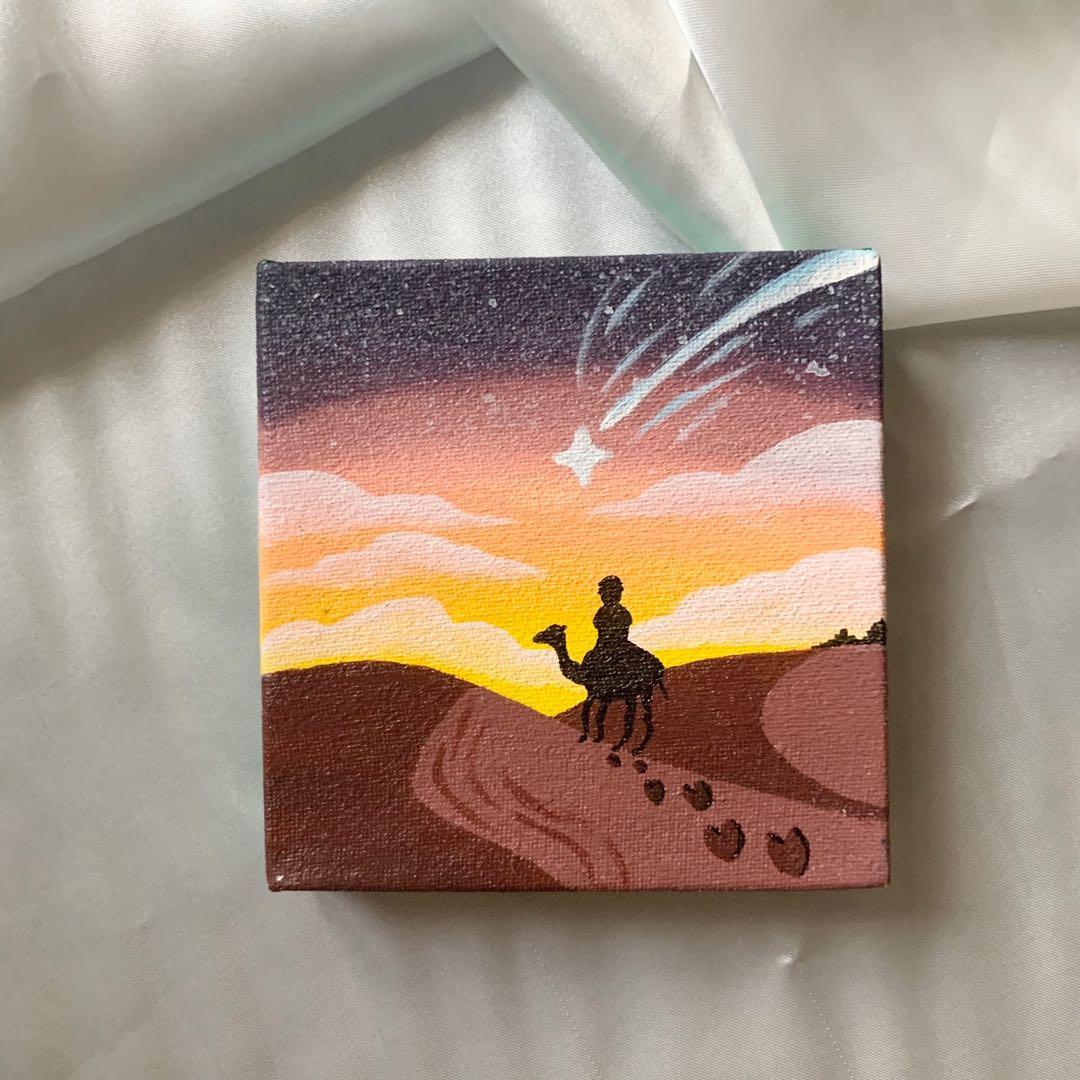 Lukisan sunset camel desert on a mini canvas hiasan dekorasi dinding