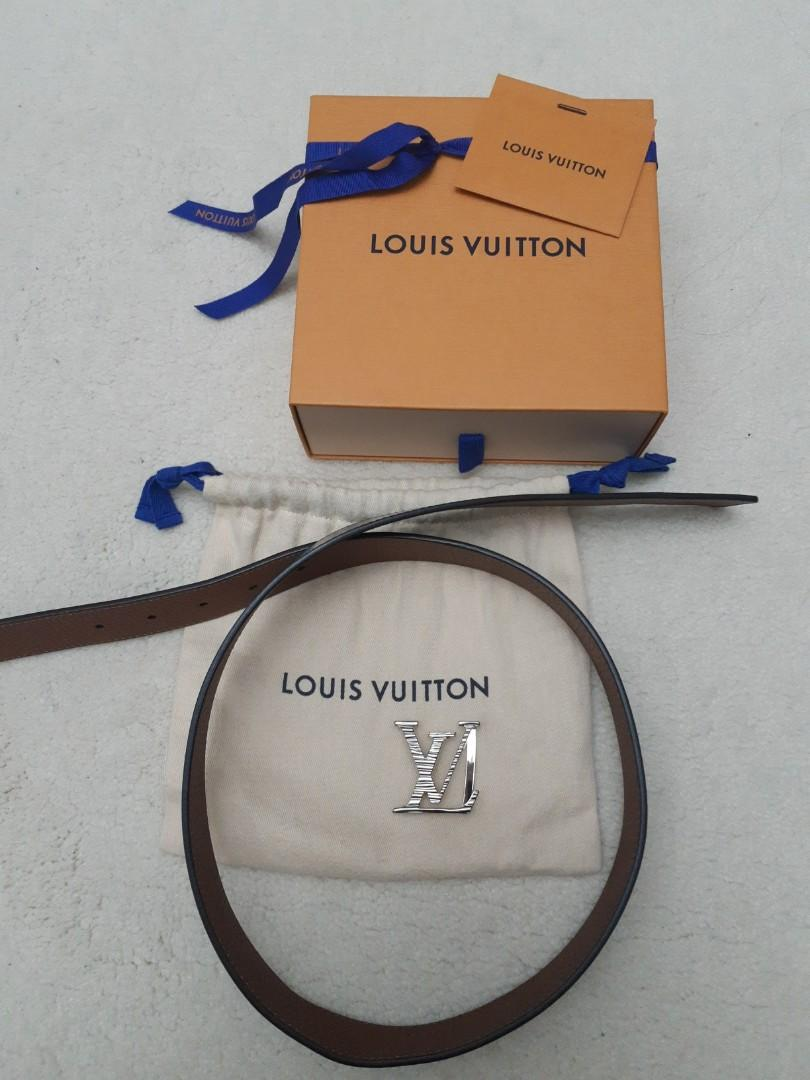 LV reversible leather belt silver buckle