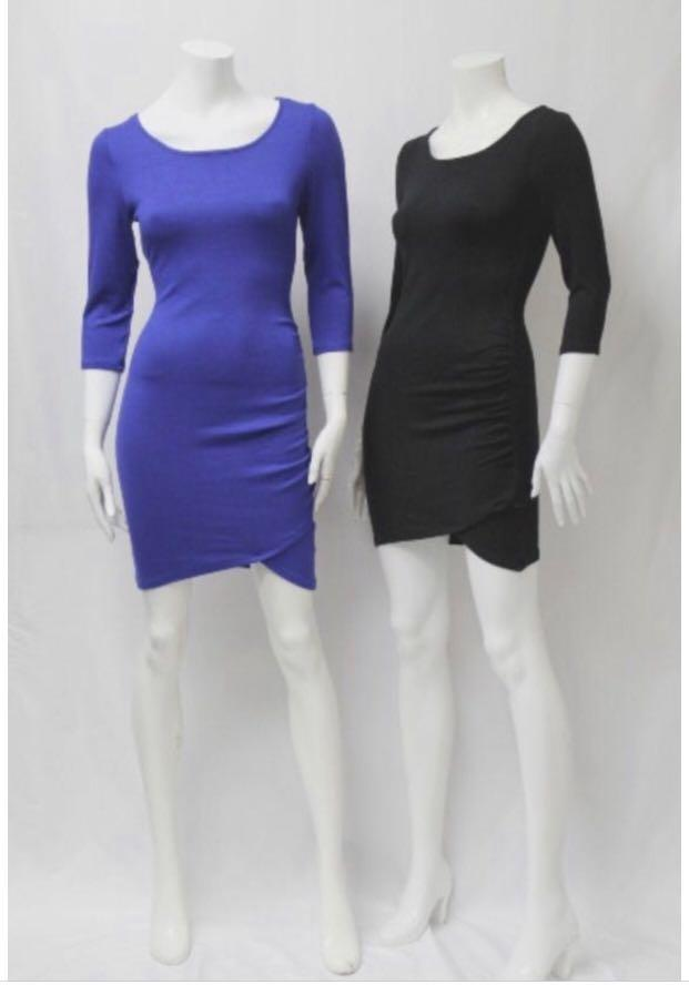 Mid Sleeve Asymmetrical Bandage Bodycon Black Dress and Blue Dress