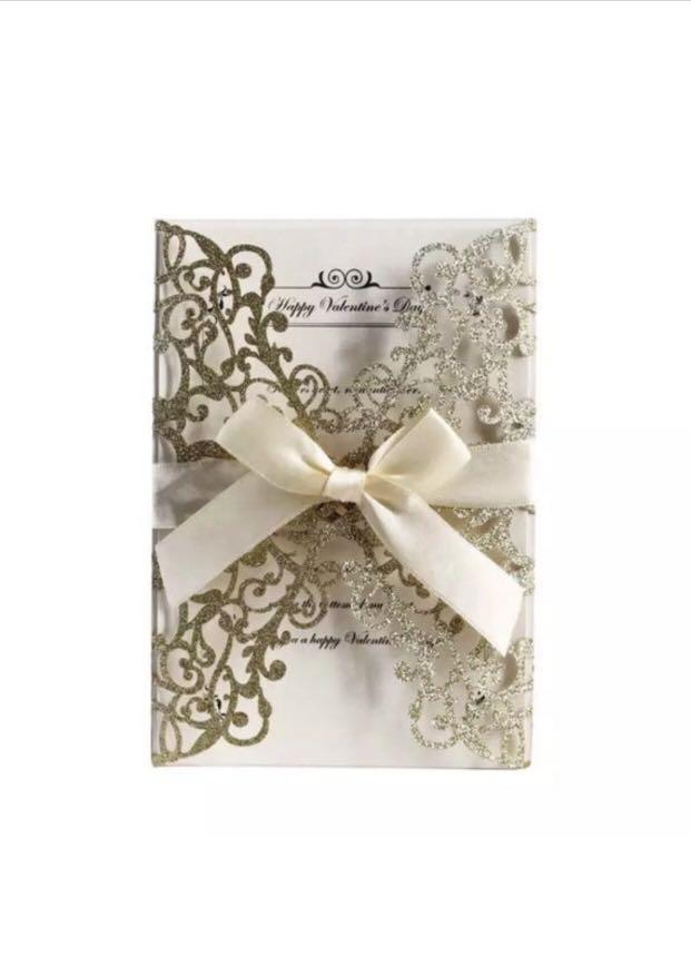 Modern Laser-Cut Invitation Covers and Bows
