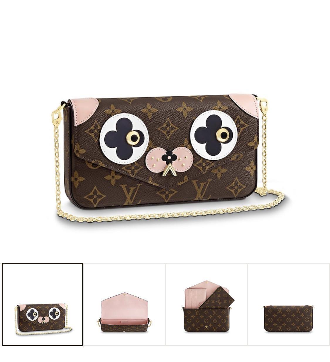 Louis Vuitton Monogram Valentine Dog Pochette Felicie Chain Wallet